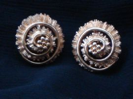 Vintage Gold Plated Swirl Earrings by Monet